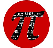 Pi Symbol Red  by Marianne Campolongo