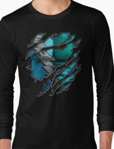 Quick man Silver lightning chest in blue ripped torn tee Long Sleeve T-Shirt