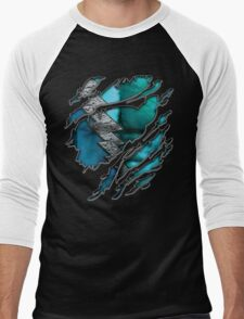 Quick man Silver lightning chest in blue ripped torn tee Men's Baseball ¾ T-Shirt