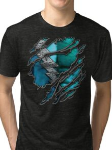 Quick man Silver lightning chest in blue ripped torn tee Tri-blend T-Shirt