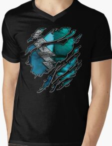 Quick man Silver lightning chest in blue ripped torn tee Mens V-Neck T-Shirt