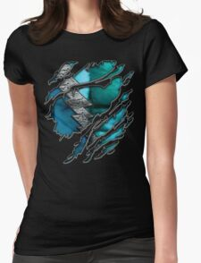 Quick man Silver lightning chest in blue ripped torn tee Womens Fitted T-Shirt