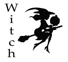 Flying Witch on Broomstick with Pumpkin by Charlottesw3b
