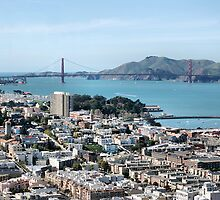 SF west, from Coit Tower, overlooking Ghiraedelli Square by Lenny La Rue, IPA