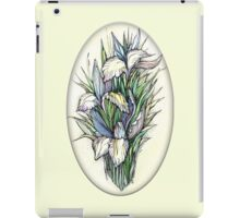 Beautiful iris - Hand draw  ink and pen, Watercolor, on textured paper iPad Case/Skin