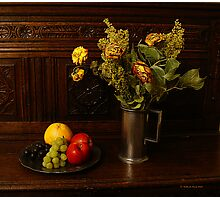 Withered Flowers & Fresh Fruit Photographic Print