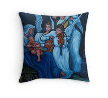 Blue nativity Throw Pillow