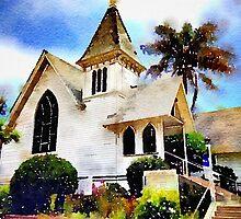 Church and Palm Tree - Redondo Beach by DiggerDan