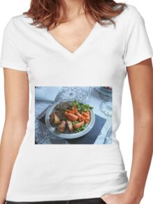 Spring Lamb and Vegetables Women's Fitted V-Neck T-Shirt