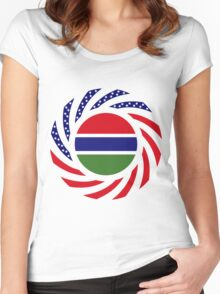 Gambian American Multinational Patriot Flag Series Women's Fitted Scoop T-Shirt