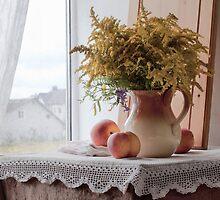 Still Life with Peaches by Sviatlana Kandybovich