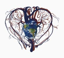 "Anatomical Kind ""Earth Heart"" Medical Circulatory Get Well Kindness Baby Tee"