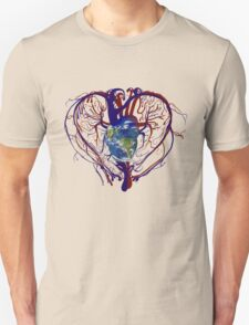 "Anatomical Kind ""Earth Heart"" Medical Circulatory Get Well Kindness Unisex T-Shirt"