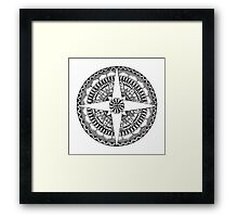 Black and White Compass Mandala Framed Print