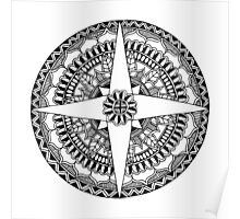 Black and White Compass Mandala Poster