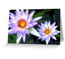 Blue Lotuses Greeting Card