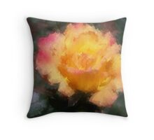 Oil Pastel Rose Throw Pillow
