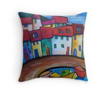 FISHING BOATS MOORED AT LYME REGIS - U.K. Throw Pillow