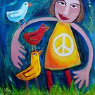SUSIE  AND  THE  LOVEBIRDS  GO  WALKING by ART PRINTS ONLINE         by artist SARA  CATENA