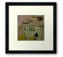 Cards Wine and Cheese Framed Print