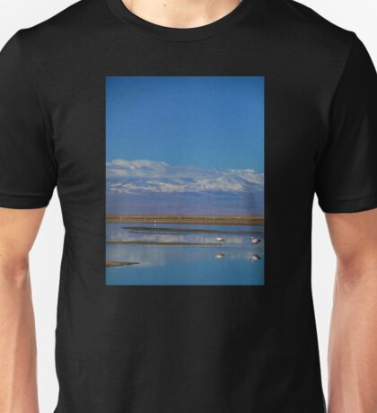 Flamingo Reflections, Salar de Atacama, Chile Unisex T-Shirt
