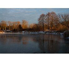 Gray and Amber - an Early Winter Morning on the Lake Shore Photographic Print