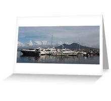 Vesuvius Volcano and the Boats in Naples, Italy Harbor Greeting Card