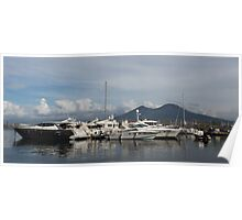 Vesuvius Volcano and the Boats in Naples, Italy Harbor Poster