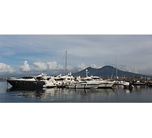 Vesuvius Volcano and the Boats in Naples, Italy Harbor Photographic Print