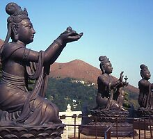 Statues of Buddha, Lantau Island, Hong Kong. by Peter Stephenson