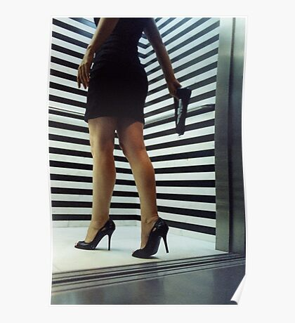 Sensual young woman in stilettos night analogue darkroom print Poster