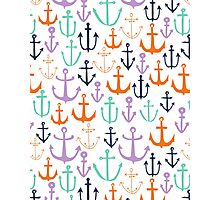Anchors - Multi Brights - Nautical, Summer, Fun, Print Pattern by Andrea Lauren Photographic Print