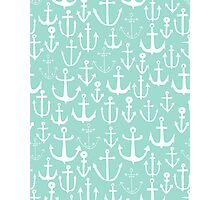 Anchors - Mint - Cute summer nautical pattern in mint and white by Andrea Lauren Photographic Print