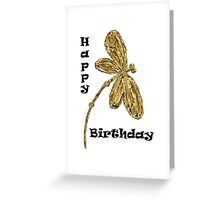 Happy Birthday Gold Dragonfly Greeting Card