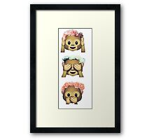 see no evil monkey emoji hipster flower crown tumblr Framed Print