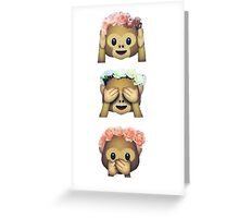 see no evil monkey emoji hipster flower crown tumblr Greeting Card