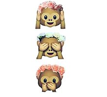 see no evil monkey emoji hipster flower crown tumblr Photographic Print