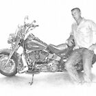 departed nephew & dad's Harley drawing by Mike Theuer