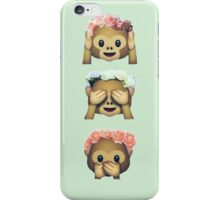 see no evil monkey emoji hipster flower crown tumblr iPhone Case/Skin
