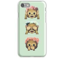 see no evil monkey emoji hipster flower crown tumblr iPhone Case/Skin