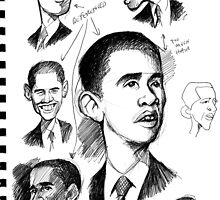 Obama sketches by OscarEA