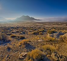 Sun rising over the fog in the desert by Alan Mitchell