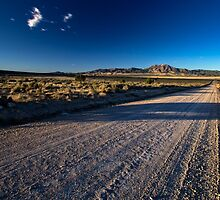 Road to the mountains in the desert by Alan Mitchell