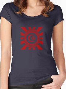 Mandala 34 Version 2 Yin-Yang Colour Me Red  Women's Fitted Scoop T-Shirt