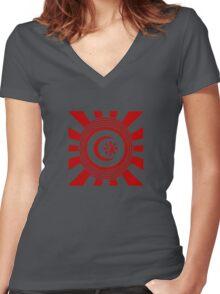 Mandala 34 Version 2 Yin-Yang Colour Me Red  Women's Fitted V-Neck T-Shirt