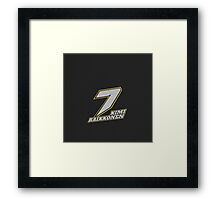 Kimi Raikkonen #7 (Formula One Race Number) Framed Print