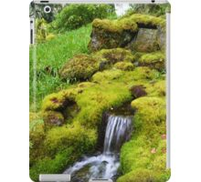 Spring wet green moss covered rocks and green grasses, trees. Nature garden photography. iPad Case/Skin