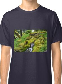 Spring wet green moss covered rocks and green grasses, trees. Nature garden photography. Classic T-Shirt