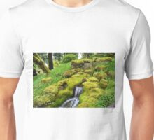 Spring wet green moss covered rocks and green grasses, trees. Nature garden photography. Unisex T-Shirt