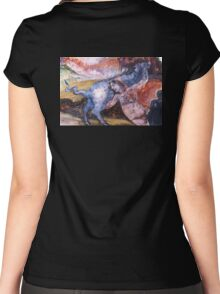 Nude woman with cow Women's Fitted Scoop T-Shirt